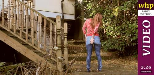 Wet jeans in the garden