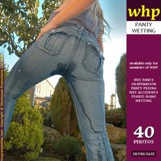 Natalie B. soaks her blue jeans