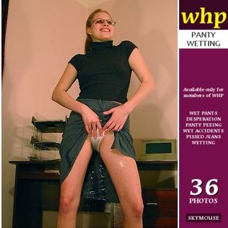 Office girl Traci pisses her panties and skirt
